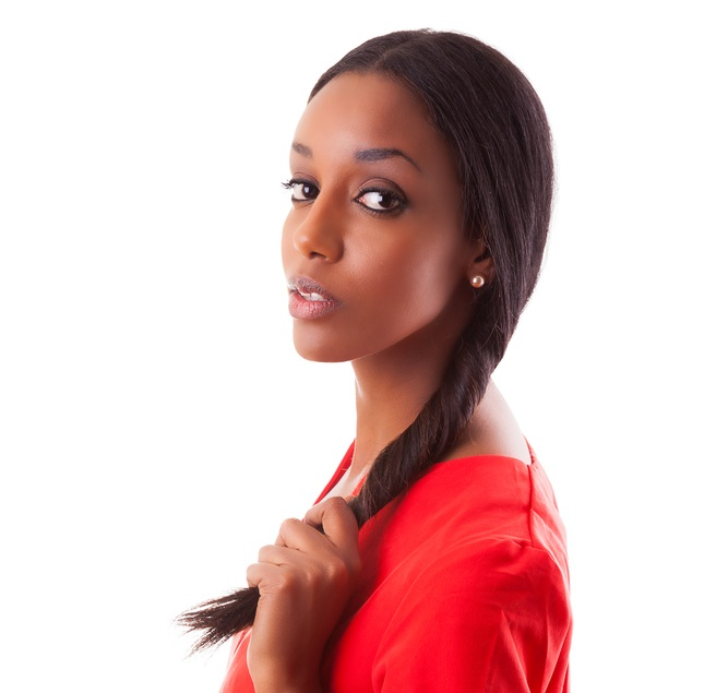 African-american-woman-twisting-her-long-straight-hair