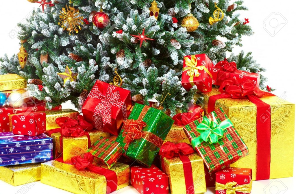 Christmas-Tree-and-Gifts-Over-white-background--Stock-Photo-presents